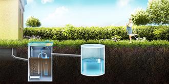 септик ТОПАС монтаж с отводом очищенной воды в накопительный резервуар для повторного использования