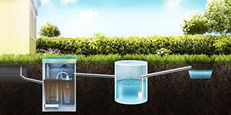 септик ТОПАС монтаж с отводом очищенной воды через накопительный резервуар в ливневую канаву